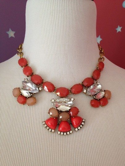 J.Crew NEW!!! tags Cluster Statement Summer Necklace Gold Chain Coral