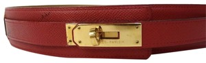 Hermès Hermes Kelly Red Leather Belt with Gold Hardware 65cm/24.5 ins