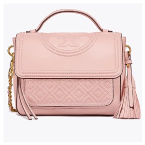 Tory Burch Tassels Chain Chic Vintage Gold Cross-body Satchel in Shell Pink