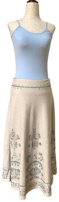 Item - Ivory Silver Collection Linen A-line Beaded Skirt Size 2 (XS, 26)