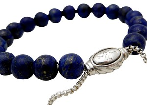 David Yurman David Yurman Blue Lapis Lasuli Bead Bracelet in Sterling Silver 925
