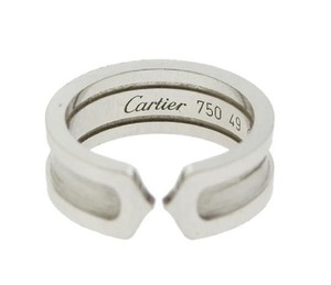 Cartier Authentic 18K White Gold Cartier Classic Wedding Cuff Ring Band