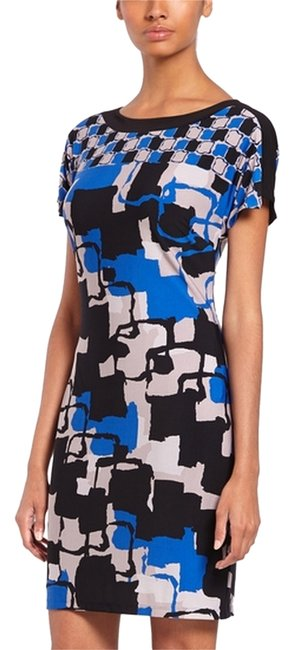 Item - Blue Abstract/Multi Color Sheath Above Knee Short Casual Dress Size 2 (XS)