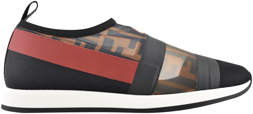 486be3007bf Fendi Brown Colibri Runway Ff Logo Zucca Mesh Red Low Top Trainer ...