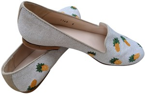 Jon Josef Pineapple Cute Patterned Embroidered White/Natural Flats