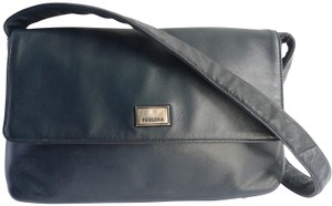 Perlina Leather Handbag Gunmetal Silver Satchel in Dark Blue