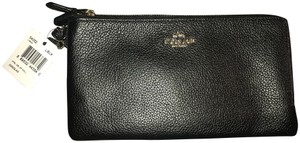 Coach Lettering Faux Leather Double Zipper Gold Hardware Large Walle Black Clutch