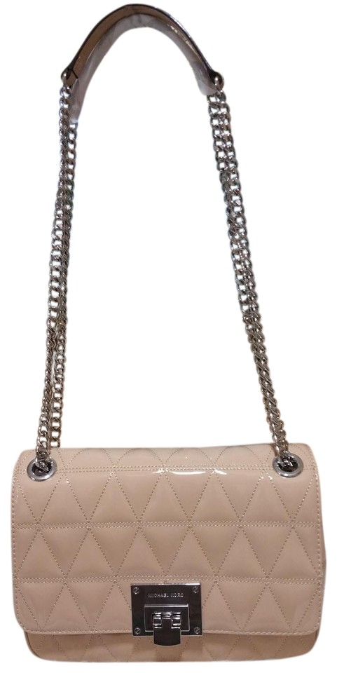 0cae0748d643 Michael Kors Vivianne Chain Sloan Beige Oyster Leather Shoulder Bag ...