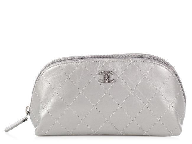 Item - Silver Quilted Distressed Calfskin Cosmetic Bag