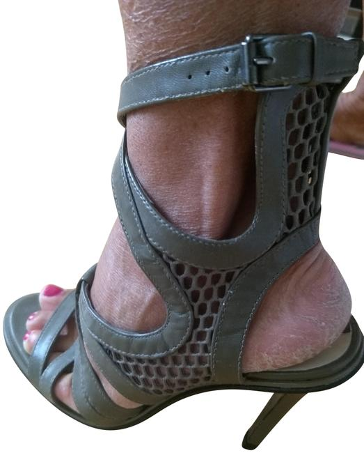 Item - Military Green/Taupe High Heal Strappy Sandals Size EU 38 (Approx. US 8) Regular (M, B)