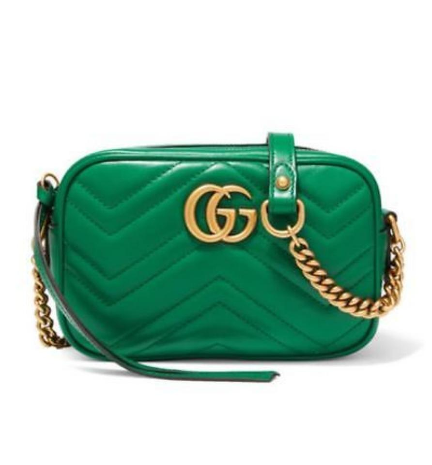 6ba002ade8f Gucci Marmont Camera Emerald Green Matelasse Leather Cross Body Bag ...