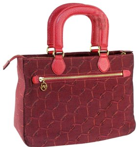 Roberta di Camerino Mint Vintage Unique Handles Roomy Interior Italian Made Quality Satchel in burgundy, orange, and black woven belt print canvas and red leather