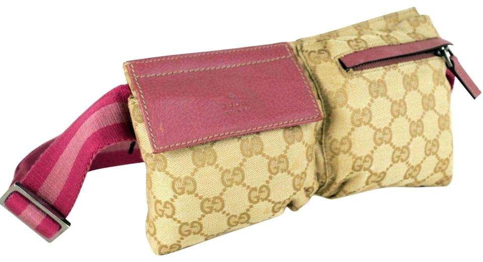 9626f12048a6 Gucci Monogram Gg Belt Waist Pouch 866876 Beige Canvas Cross Body ...