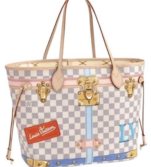 Preload https://img-static.tradesy.com/item/23381400/louis-vuitton-neverfull-mm-summer-trunks-limited-edition-2018-damier-azur-canvas-tote-0-3-540-540.jpg