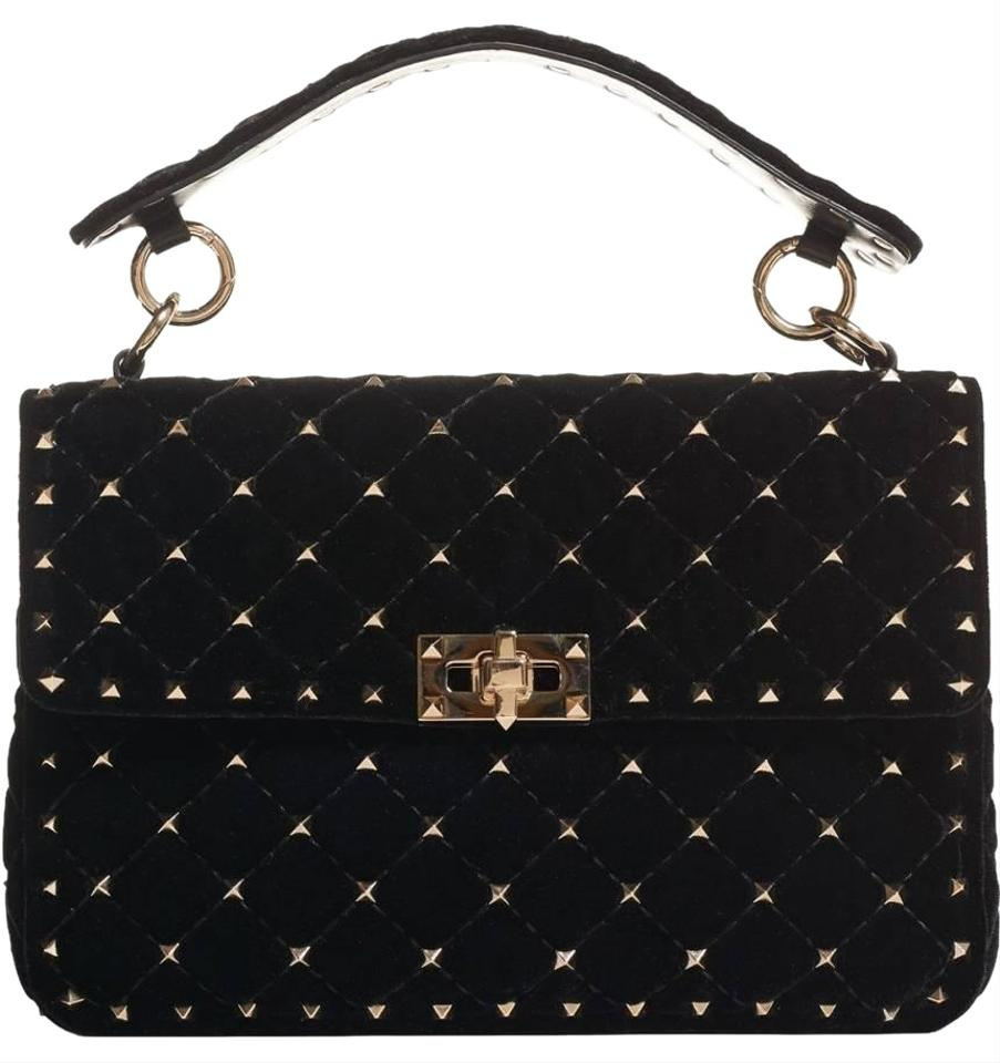 edd6d7548e7 Valentino Shoulder New Garavani Rockstud Spike Large Black Velvet ...