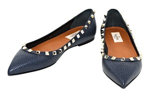 Valentino Studded Dark Denim Flats