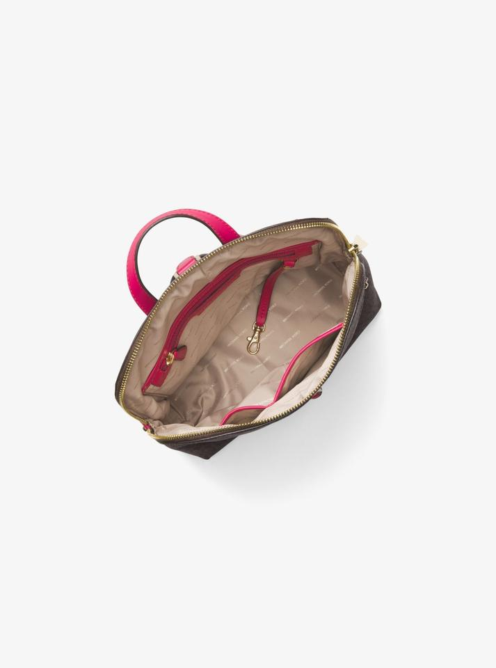 2d8505d27ffd MICHAEL Michael Kors Rhea Medium Slim Logo School Travel Brown/Ultra Pink  Pvc Backpack - Tradesy
