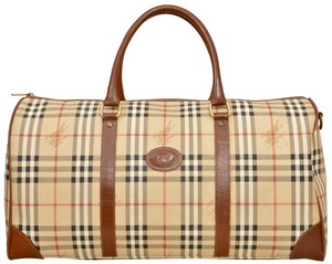Burberry Duffle Duffel Gym Keepall Suitcase Beige Travel Bag