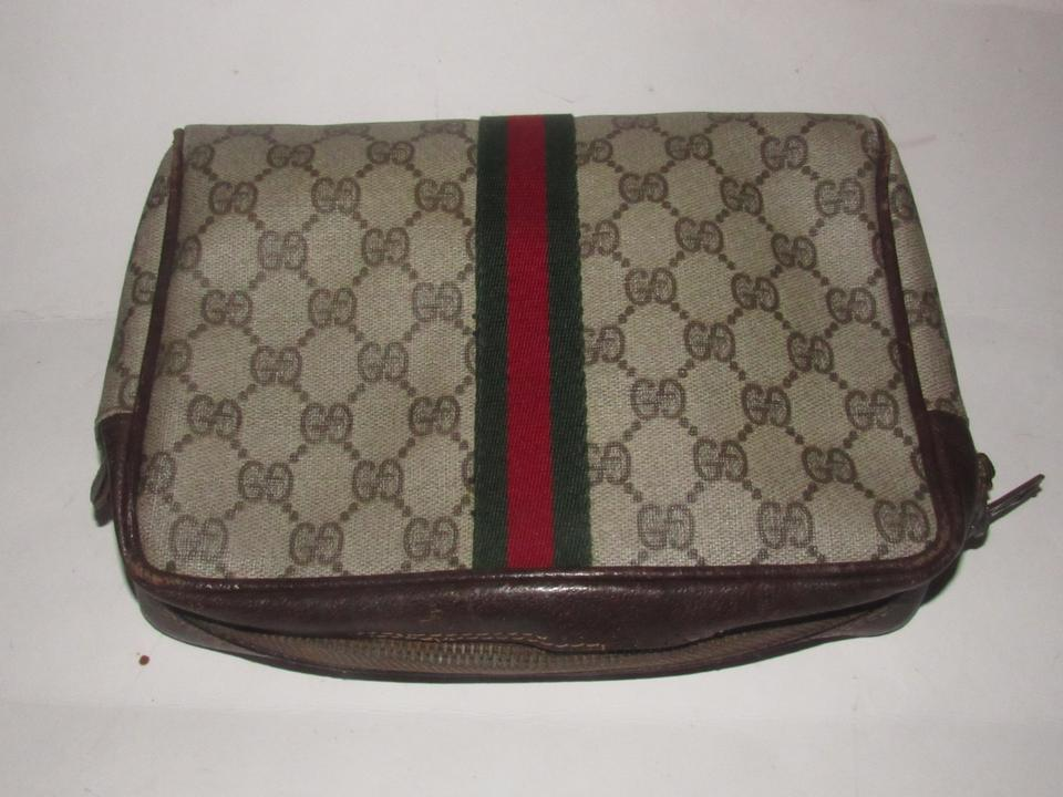 ebf8e090580b Gucci Vintage Purses/Designer Purses Brown Large G Logo Print Coated Canvas  and Brown Leather with A Red/Green Stripe Clutch - Tradesy