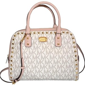 f3e58fd9ddfc MICHAEL Michael Kors Satchel in rose pink and white monogram