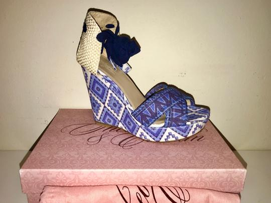Stuart Weitzman Summer Platform Blue and White Wedges