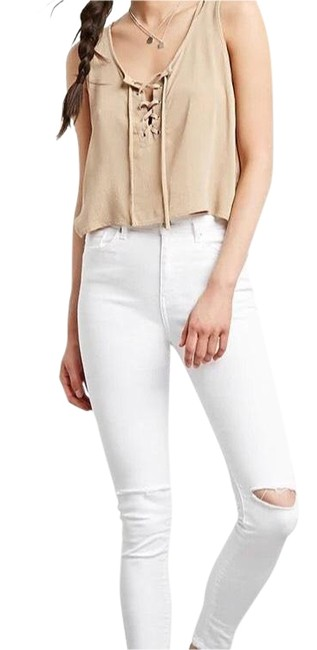 Preload https://img-static.tradesy.com/item/23382318/forever-21-tan-crepe-lace-up-crop-blouse-size-4-s-0-1-650-650.jpg