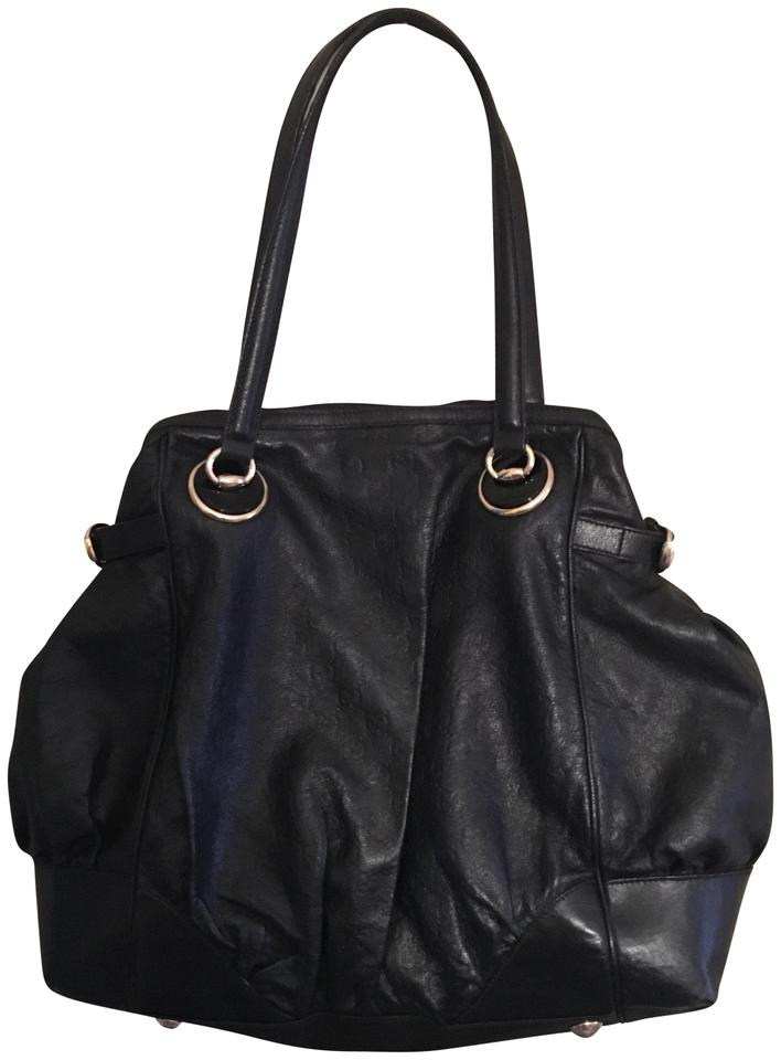 b5c6028e320654 Gucci Guccissima Full Moon Tote Black Leather Shoulder Bag - Tradesy