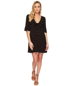 2d84251f8c6e9 Free People Onyx White All Yours Black Polka Dot Tie-front Mini Casual Dress