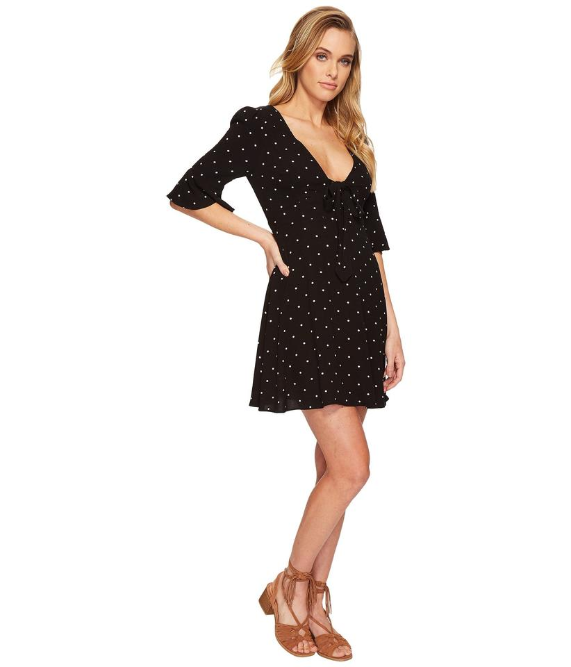 44be577f695d Free People Onyx White All Yours Black Polka Dot Tie-front Mini Casual Dress