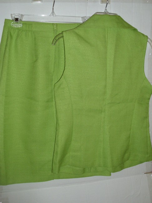 Other vintage outfit lime green 70s vibe long vest full skirt suit