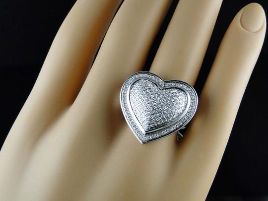 Jewelry Unlimited Womens White Gold Finish Round Cut Heart Diamond Fashion Designer Ring