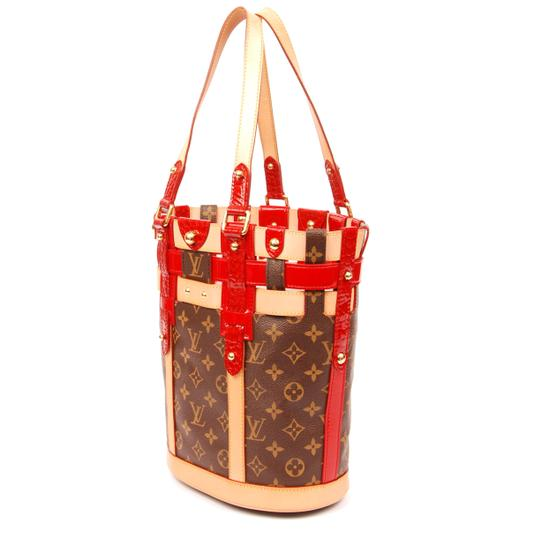 Louis Vuitton Limited Edition Neo Monogram Canvas Red Tote in Brown