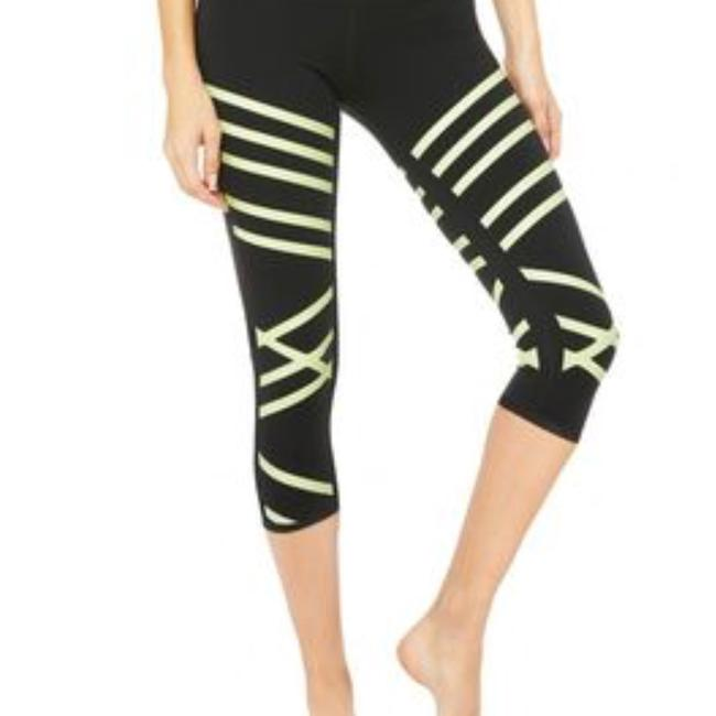 Alo Black And Neon Yellow Capri Alo