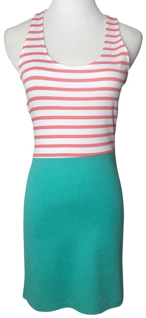 Preload https://img-static.tradesy.com/item/23382670/sexy-teal-coral-and-white-small-firs-like-an-xs-60-cotton-35-rayon-5-spandex-short-casual-dress-size-0-1-650-650.jpg