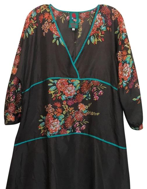 Item - Gray and Floral Kimono Mid-length Work/Office Dress Size 12 (L)