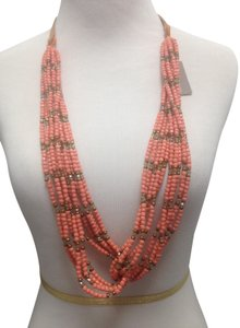 Tommy Bahama Tommy Bahama Color Coral Gold Beads Leather long necklace Drop 16.5