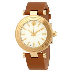 Tory Burch Swiss Classic T Ivory Dial Light Brown Leather Strap Ladies Watch