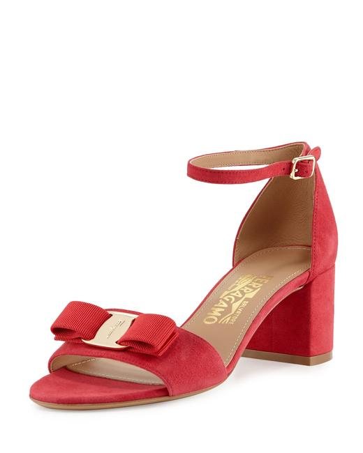 Item - Pamplona Red Vara Bow Ankle Strap Sandals Size US 7.5 Wide (C, D)