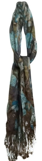 Preload https://item5.tradesy.com/images/turquoise-and-brown-floral-scarfwrap-2338279-0-0.jpg?width=440&height=440
