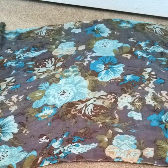 Other Turquoise And Brown Floral Scarf