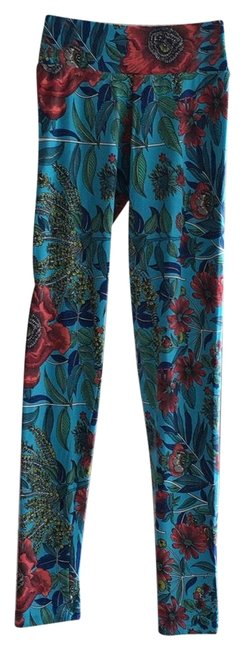 Preload https://img-static.tradesy.com/item/23382792/turquoise-reddish-blues-greens-floral-print-and-some-white-workout-activewear-bottoms-size-12-l-0-1-650-650.jpg