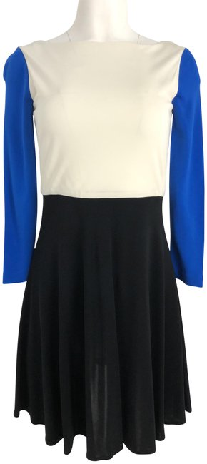 Preload https://img-static.tradesy.com/item/23382803/tibi-black-blue-ivory-34-sleeve-mid-length-workoffice-dress-size-0-xs-0-3-650-650.jpg