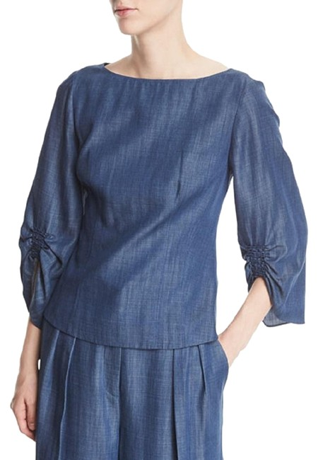 Preload https://img-static.tradesy.com/item/23382845/tibi-denim-chambray-boat-neckline-blouse-size-2-xs-0-2-650-650.jpg