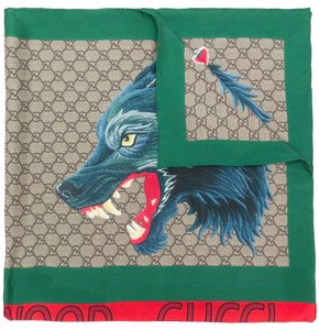 "Gucci NWT GUCCI MEN'S CRUISE'18 SILK WOLF GG PATTERN SQUARE SCARF 35"" x 35"""