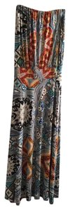multi, rust, red, orange, tan, blues, and even some green Maxi Dress by Veronica M