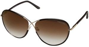Tom Ford Tom Ford Rosie TF 344 48G Gold/Brown Leather Sunglasses NEW!