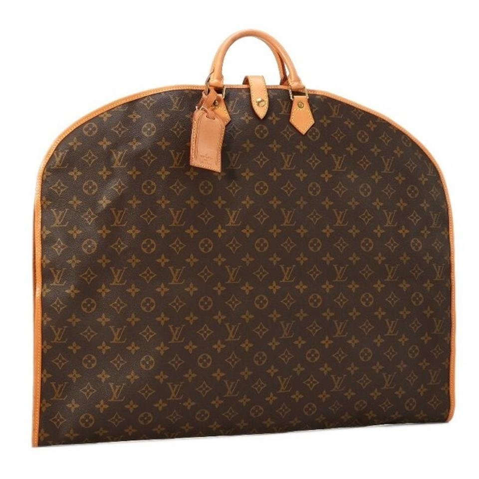 Louis Vuitton Garment Cover Vintage Monogram Canvas Brown Leather ... dfaa2e6289c05