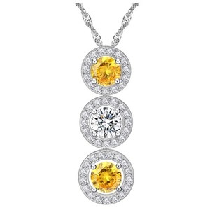 Other Swarovski Crystals Yellow Pendant Necklace S13