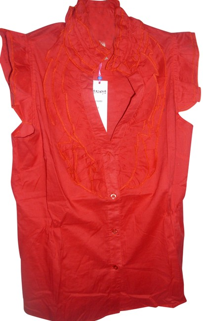 Preload https://img-static.tradesy.com/item/23383314/red-cute-red-ruffle-long-tunic-button-down-cap-sleeve-summer-blouse-blouse-size-6-s-0-1-650-650.jpg