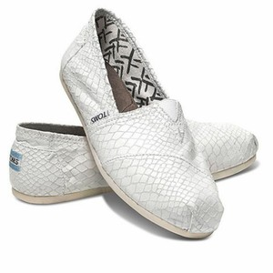 TOMS Leather Upper White Flats